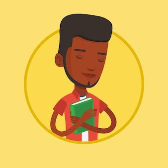 Étudiant étreignant son illustration vectorielle de livre.