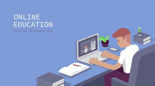 Étudiant étudiant à l'ordinateur, examen en ligne, questionnaire sur internet, illustration