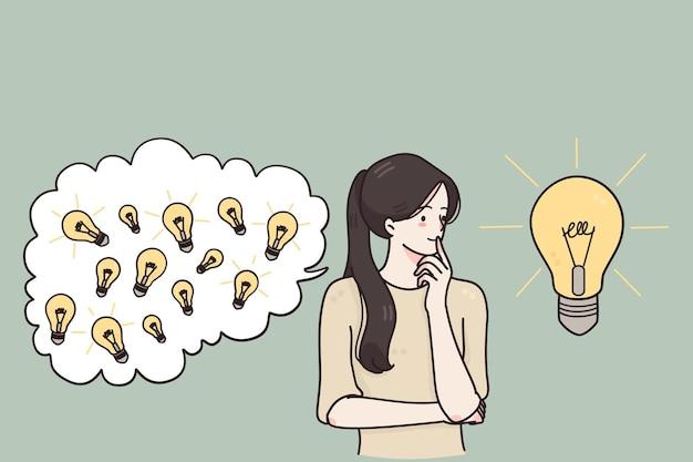 Étudiant fille positive réfléchie debout tenant la main sous le menton pensant à la solution