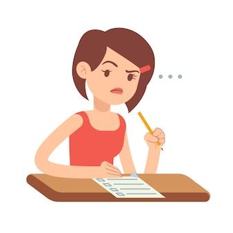 Étudiant fou jeune femme inquiète