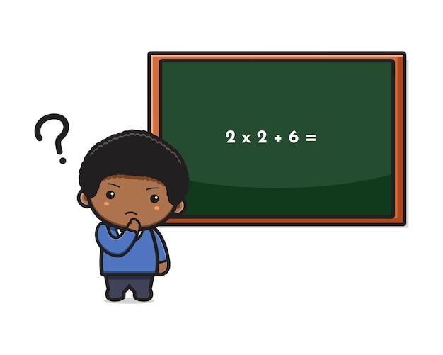 Étudiant de garçon mignon confus faisant l'icône de dessin animé de maths illustration vectorielle. conception isolée sur un style cartoon plat blanc.