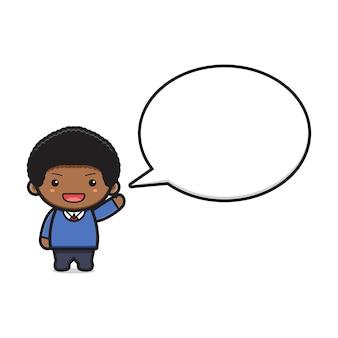 Étudiant de garçon mignon avec illustration vectorielle de bulle texte dessin animé icône. conception isolée sur un style cartoon plat blanc.