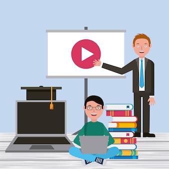 Étudiant garçon et professeur écran vidéo ordinateur portable livres apprentissage