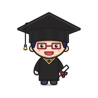Étudiant le jour de la remise des diplômes cartoon icône vector illustration. concevoir un style cartoon plat isolé