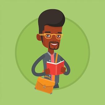 Étudiant, lecture illustration vectorielle de livre.