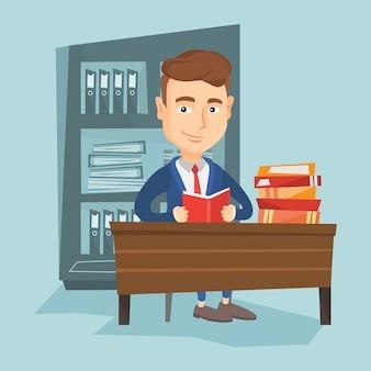 Étudiant, lecture, illustration vectorielle livre