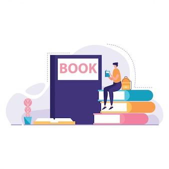 Étudiant, lecture, vecteur, livre