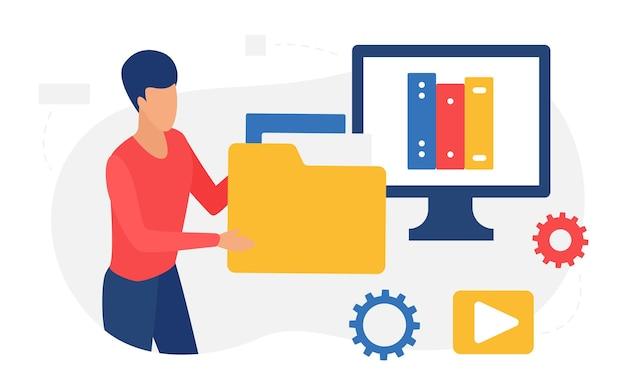 Étudiant en ligne de service web de bibliothèque numérique tenant une archive de fichier multimédia de dossier de données