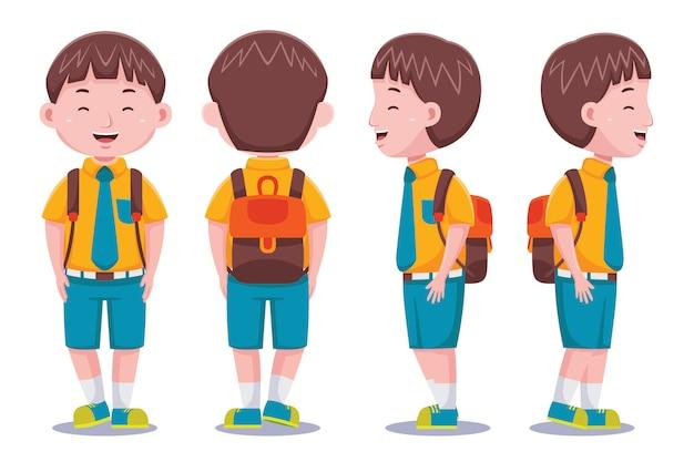 Étudiant mignon de garçon d'enfants transportant le sac à dos dans le modèle plat de conception