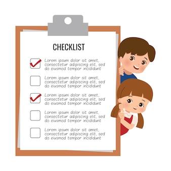 Étudiant mignon garçon et fille furtivement derrière le tableau de la liste de contrôle. réalisation, tâche, modèle de liste de plans. design plat