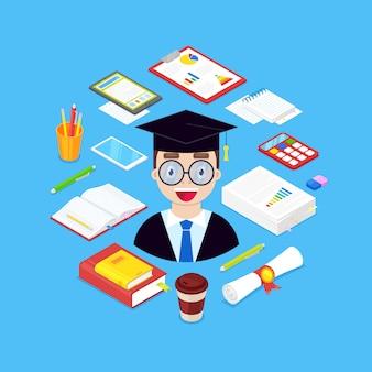 Étudiant et papeterie