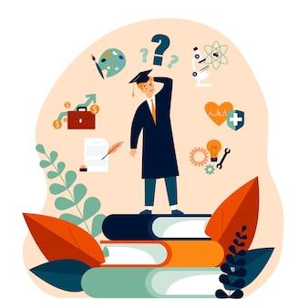 Un étudiant perplexe fait un choix quant à son futur cheminement de carrière