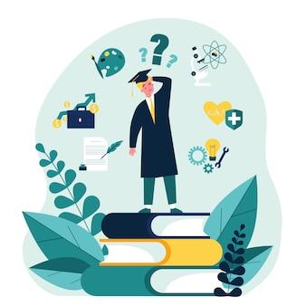 Un étudiant perplexe fait un choix sur son futur cheminement de carrière