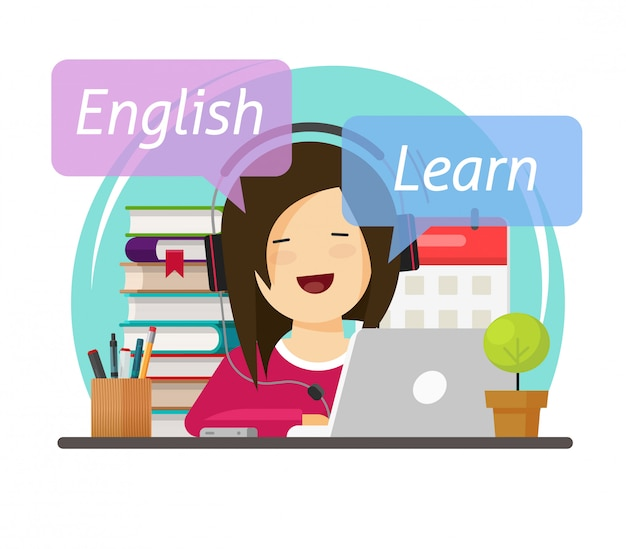Étudiant personne se penchant ou étudiant l'anglais en ligne sur un ordinateur portable assis sur le bureau de la table de travail dans les écouteurs illustration de dessin animé plat