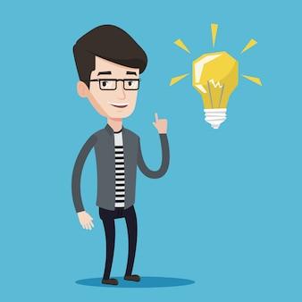 Étudiant pointant sur l'illustration vectorielle ampoule