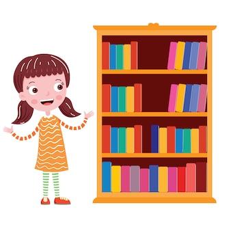 Étudiant près de l'illustration vectorielle d'étagère en classe