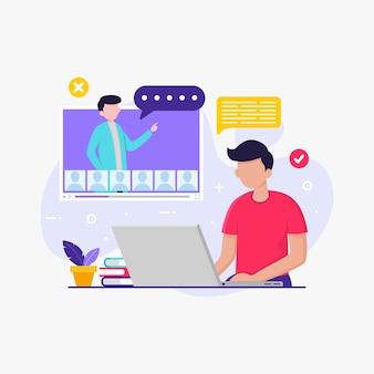Étudiant qui étudie avec un ordinateur portable pour l'enseignement scolaire en ligne