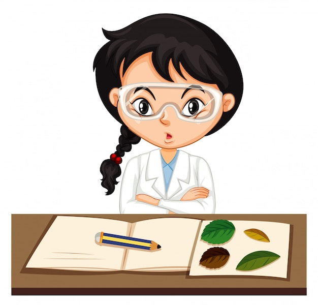 Étudiant en sciences faisant l'expérience avec feuille