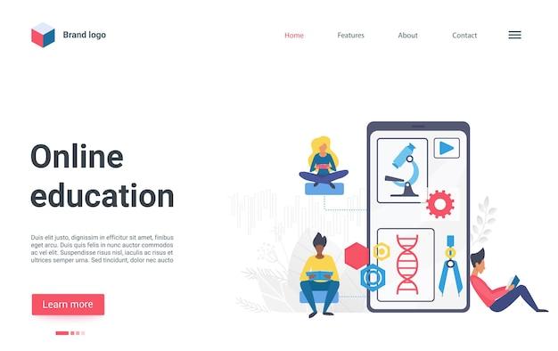 Étudiant ou scientifique de la page de destination plate de la technologie de l'éducation en ligne avec un grand smartphone