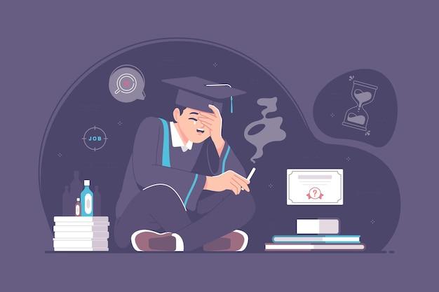 Étudiant universitaire stressé et illustration de concept de regret