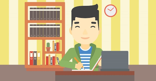 Étudiant utilisant un ordinateur portable pour l'éducation.