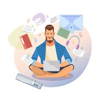 Étudiant utiliser un ordinateur portable pour vecteur d'apprentissage à distance