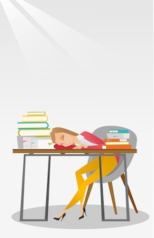 Étudiante dort au bureau avec livre.