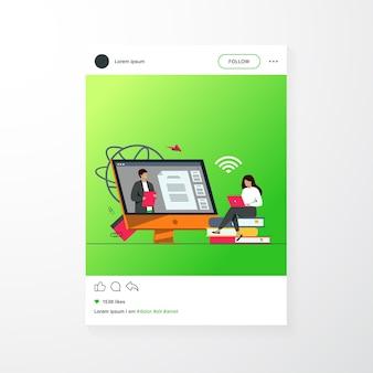 Étudiante écoute webinaire en ligne illustration vectorielle plane. gens de dessin animé lors d'une formation, d'une vidéoconférence ou d'une conférence. concept d'étude et d'éducation informatique
