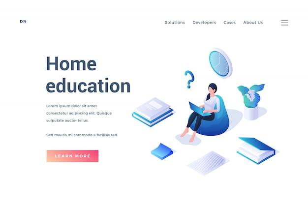 Étudiante en promotion du site web sur l'enseignement à domicile