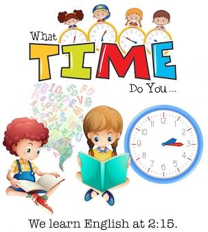 Les étudiants apprennent l'anglais à 2:15