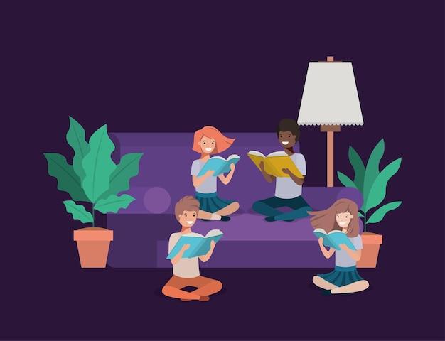 Étudiants assis dans le livre de lecture du salon
