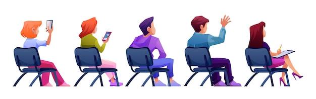 Étudiants auditeurs ou spectateurs assis sur une chaise