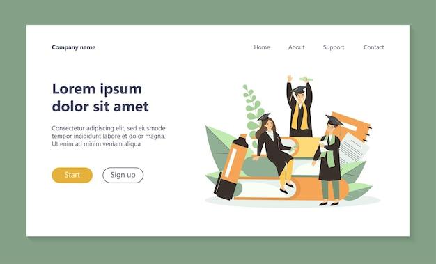 Étudiants célébrant la page de destination de l'obtention du diplôme