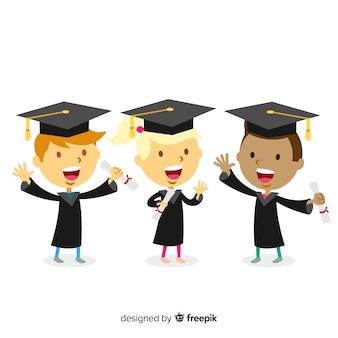 Étudiants avec des chapeaux de graduation