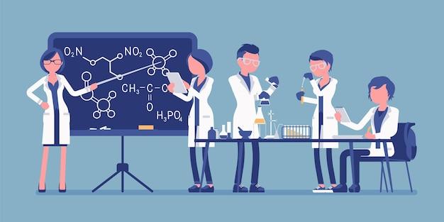 Étudiants dans l'illustration du laboratoire