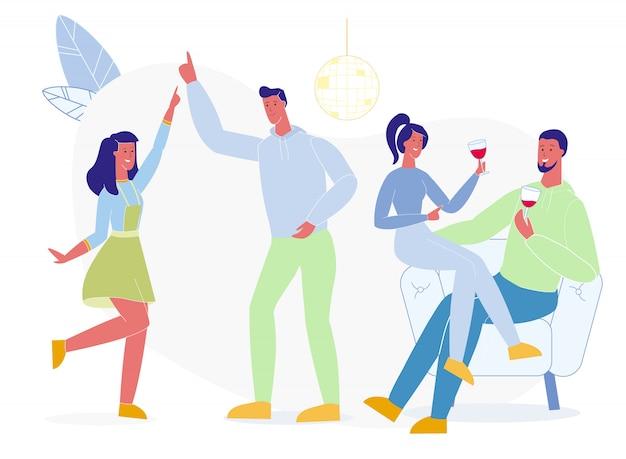 Étudiants, danse, boire, vecteur, illustration