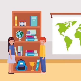 Étudiants debout dans la salle de classe