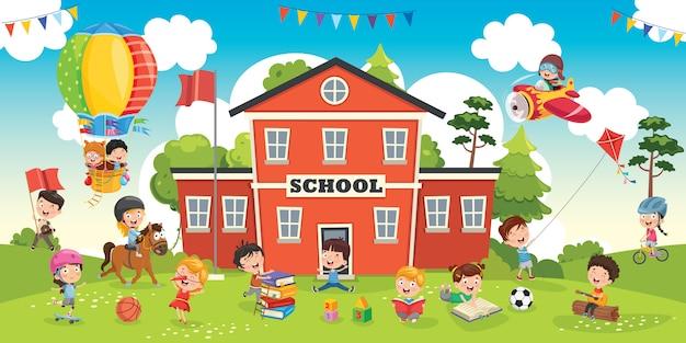 Étudiants drôles et bâtiment scolaire