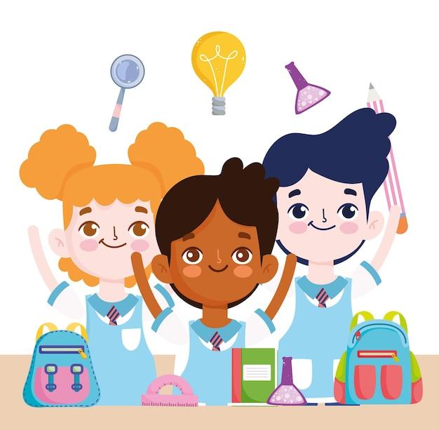 Étudiants drôles d'école avec livre de ballon et illustration de dessin animé de sac