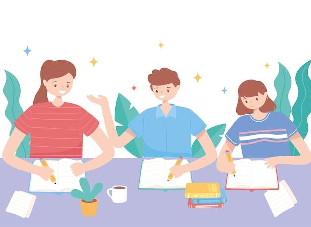 Étudiants du groupe lisant et étudiant l'illustration de l'éducation