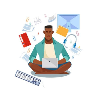 Étudiants e-learning en ligne concept de vecteur de dessin animé