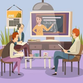 Etudiants sur l'éducation en ligne