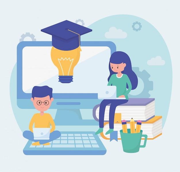 Etudiants éducation scolaire en ligne