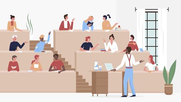 Les étudiants étudient dans une salle de conférence universitaire ou collégiale
