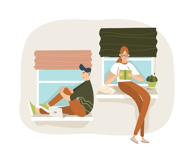 Étudiants féminins et masculins assis près des fenêtres. les deux se préparent à un examen à l'aide d'un livre et d'un ordinateur portable. elle lit, il surfe sur le net. illustration plate de dessin animé.