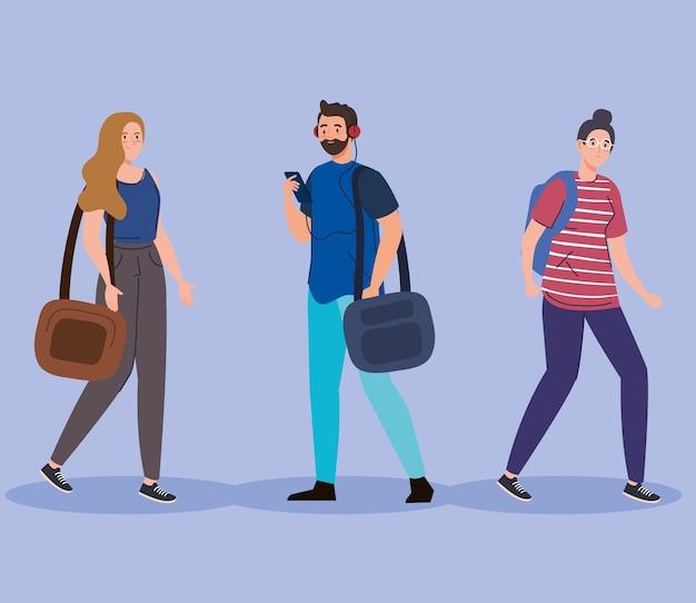 Étudiants de femmes et d'hommes avec la conception de sacs, l'enseignement universitaire et le thème de l'école.