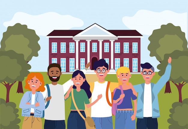 Étudiants filles et garçons dans l'université d'enseignement