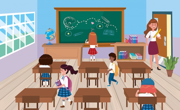 Étudiants filles et garçons avec une enseignante en classe
