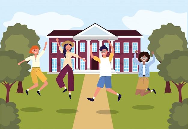 Étudiants filles et garçons sautant à l'université