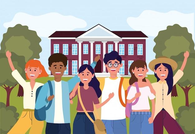 Étudiants filles et garçons de l'université professionnelle
